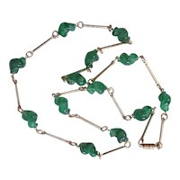 Twisted Green Glass Beads Mid Century Necklace Gold tone