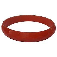 Orange Bakelite Diamond Faceted Bangle Bracelet