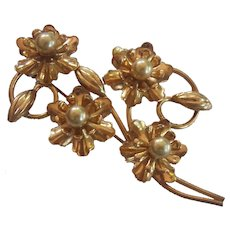 Vintage Gold over Sterling Silver Faux Pearl Flower Brooch