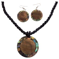 Mother of Pear Abalone Shell & Black Lucite Necklace & Earrings Set