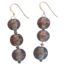 Three Bead Italian or Czech Glass Earrings Gray with Copper