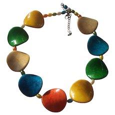 Fun Colorful Potato Chip Lucite or Plastic Necklace