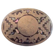 Vintage Mexican Inlaid Belt Buckle Aztec Motif Silver tone Abalone