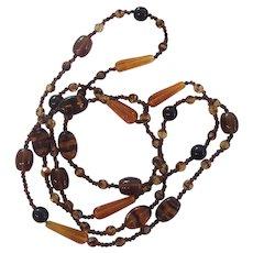 Long Beaded Tiger Stripe Tortoise Glass & Topaz Amber Glass Necklace