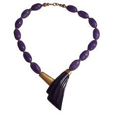Kunio Matsumoto Trifari Purple Lucite Gold tone Necklace