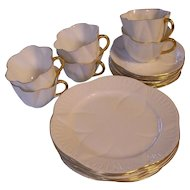 Shelley Regency Dainty 6 Trio Sets White with Gold Trim-Cups Saucers Plates