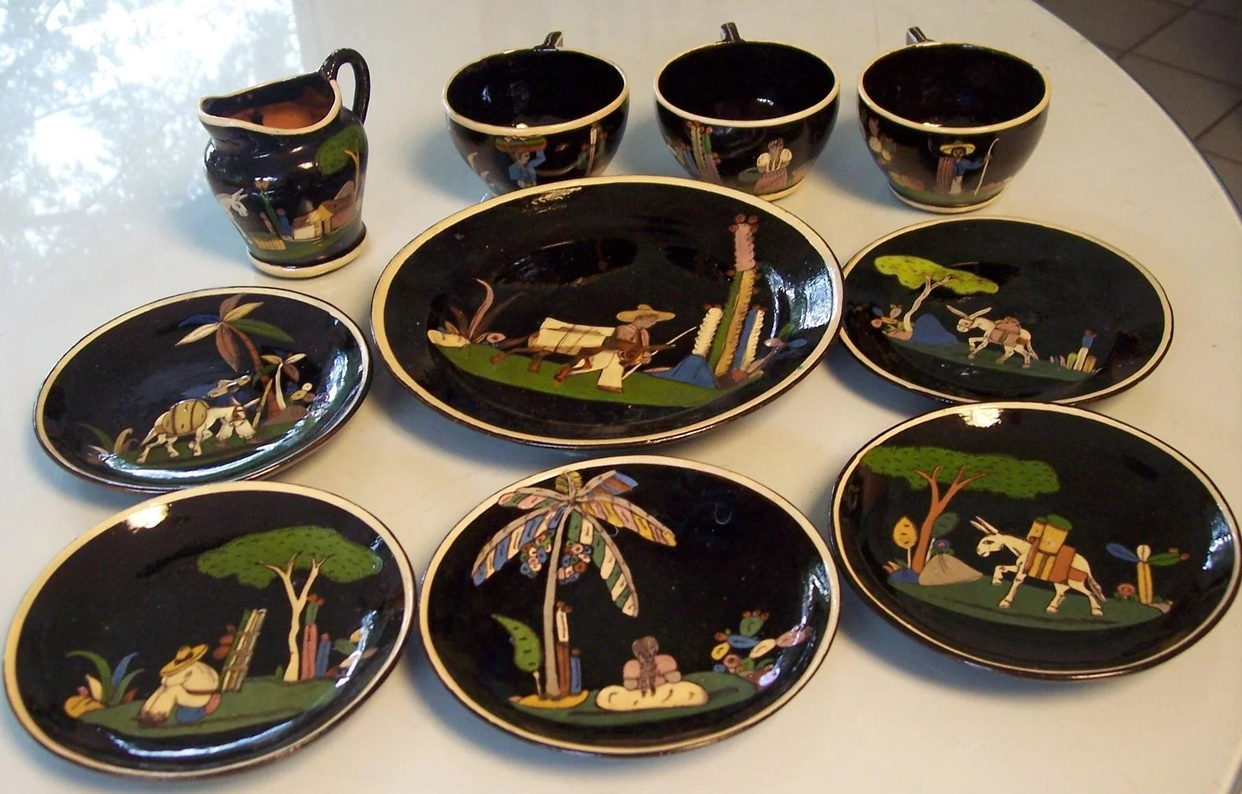 10 Vintage Mexican Black Tlaquepaque Pottery Dishes Sold