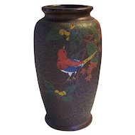 Japanese Tree Bark Tokanabe Vase with Bird