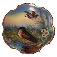 Gorgeous Carlsbad Austria Hand Painted Game Plate Birds in Marsh Wall or Cabinet