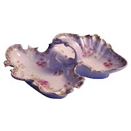 Carl Tielsch C.T. Germany Porcelain Floral Handled Dish
