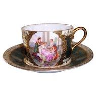Vienna Style Cherub & Maidens Cup & Saucer Beehive Mark