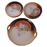 Handsome 7 Pc German Porcelain Dessert Set