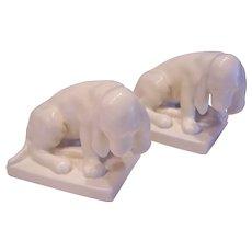 ROOKWOOD Pottery Dog Bookends Ivory 1930 Louise Abel