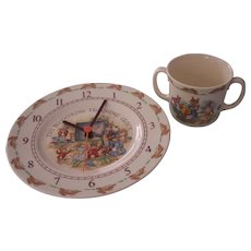 Royal Doulton Bunnykins Clock and 2 Handled Mug