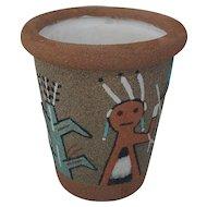 Navajo Sand Pottery Vase Pot