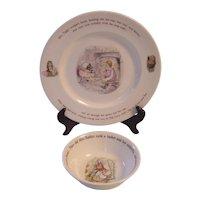 Wedgwood Beatrix Potter 2 Pc Mrs Tiggy Winkle Dinner Plate, Peter Rabbit Bowl- Frederick Warne