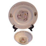 Wedgwood Beatrix Potter 2 Pc Mrs Tiggy Winkle Dinner Plate, Peter Rabbit Bowl- Frederick Warne