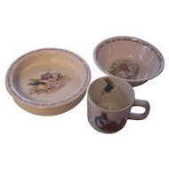 Wedgwood Beatrix Potter 3 Pc Cereal Bowl, Feeding Bowl, Mug Peter Rabbit -Frederick Warne