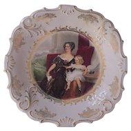 Lovely Woman and Child Charger Schwarzenhammer Bavaria Germany Schumann & Schreider Porcelain Platter