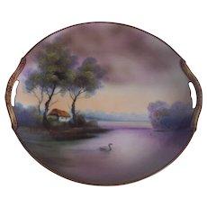 Beautiful Noritake Purple Hues Scenic Cake Plate Landscape