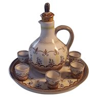 GK Austria Cordial Liqueur Brandy Decanter 6 Cups Tray Set Gmundner Keramic Pottery