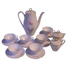 Bareuther Bavaria Demitasse Coffee Pot Teapot Creamer Sugar Cups Saucers Set Germany