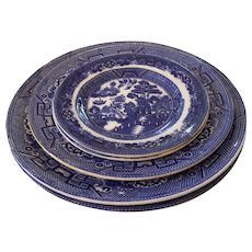 5 Allertons England Blue Willow Plates Transfer