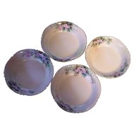 4 JP Limoges France Dessert/Berry Bowls Hand Painted Jean Pouyat JP L