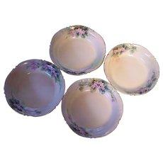 4 JP Limoges France Dessert/Berry Bowls Hand Painted Jean Pouyat JP L