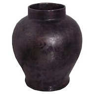 Large Oil Streak Gunmetal Gray Iridescent Pottery Vase
