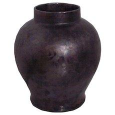 Large Oil Streak Gunmetal Gray Iridescent Pottery Vase