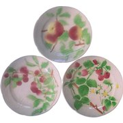 St Clement French Majolica Faience Fruit Plates Raspberries Cherries, Peaches