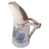 Victoria Carlsbad Austria Horn Shaped Ewer Pitcher Hand Painted Flowers
