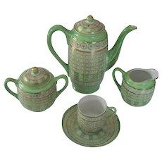 Japanese Thousand Faces Tea Set  Teapot Cream Sugar Lithopane Cup & Saucer Green Gold