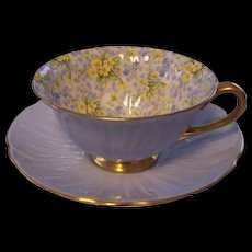 Shelley Primrose Chintz Footed Oleander Cup & Saucer 13588