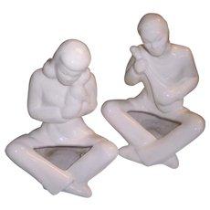 La Mirada Calif Pottery Asian Crackle Ware Couple Planters 1930's
