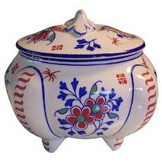 Boch Freres Belgium La-Louviere Art Deco Buttressed Bowl Jar w/Lid