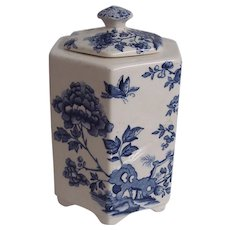 Blue Floral Mason Ironstone Tea Food Storage Jar
