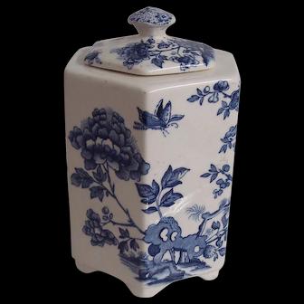 Blue Floral Mason Ironstone Tea Food Storage Jar