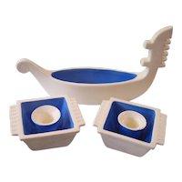 Art Deco Czech Pottery Gondola Bowl & Candle holders Set
