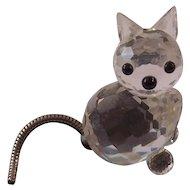 Swarovski Crystal Kitty Cat Figurine Moveable Tail Block Mark