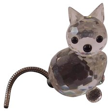 Swarovski Crystal Kitty Cat Figurine Moveable Tail Block Mark