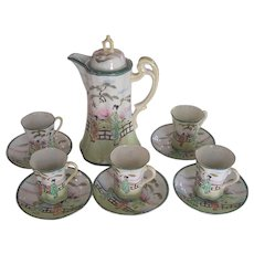 Hand Painted Nippon Chocolate Set Pot & 5 Cups & Saucers