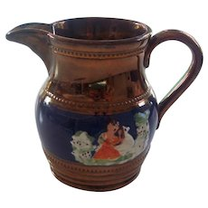 C 1850 Copper Luster Figural Pitcher