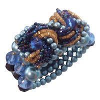 Memory Wire Bracelet Miriam Haskell Style Faux Blue Pearl & Beads