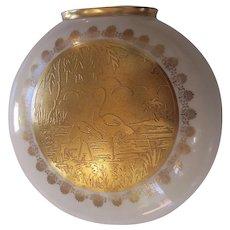 Porcelain w/ Scenic Birds Gold Panel Wall Pocket Vase German
