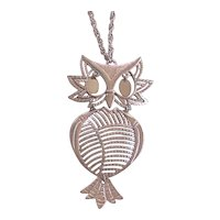 BIG Silver Tone Owl Pendant Necklace 70's Articulating