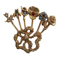 6 Stick Pin Brooch unsigned Goldette