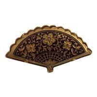 Pretty Fan shaped Damascene Brooch