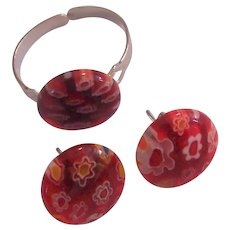 Red-Orange Italian Millefiori Glass Ring & Earrings Set Silver tone